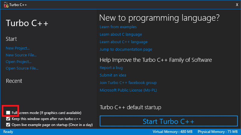 Setup Turbo C CPP Compiler in Windows - Start Screen